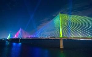 Queensferry Crossing lighting at night