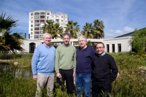 John Chapman (left) and Colin Green of Rabie Property Group with Roger Harries and Owen Futeran of the Harries Consortium on the site of the planned additions to the Oasis Luxury Retirement Resort at Century City